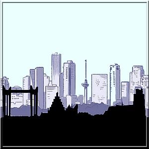 skyline Rotterdam en Dordt